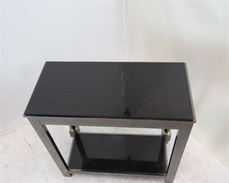 DIA steel brass, black beveled glass console table.  PIC 3