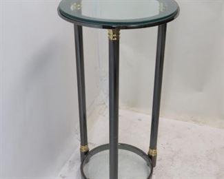 """ITEM 190 ---DIA steel and brass glass pedestal. 19"""" diameter, 36"""" high. $250.00"""