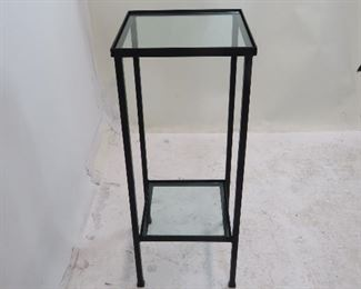 """ITEM 191 ---2 tier iron and glass stand. chip on lower glass. 12"""" wide, 12"""" deep, 30 1/4"""" high. $125.00"""