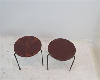 pair MCM wood top nesting tables with iron tripod legs. need refinishing. [underneath missing original screw and spacer, top split and glued]. PIC 4