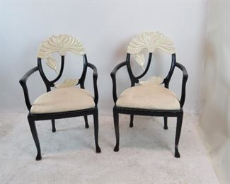"""ITEM 193 ---pair of 2 tone lacquered leaf back arm chairs. paint loss on leg.  24.5"""" wide, 24"""" deep, 36"""" high, 17"""" high to seat. $150.00"""