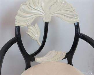 pair of 2 tone lacquered leaf back arm chairs.  PIC 2