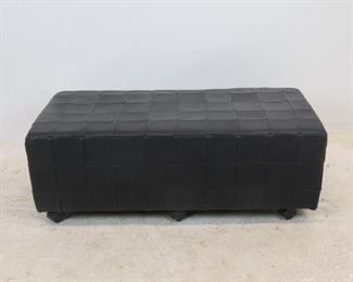 """ITEM 201--- MCM rectangular leather ottoman, has some scuff spots.  41"""" wide, 21"""" deep, 14.5"""" high. $75.00"""