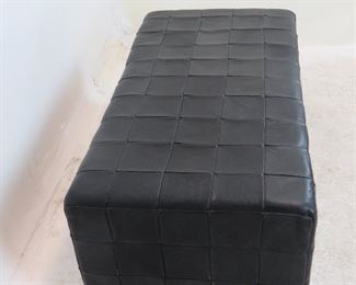 MCM rectangular leather ottoman, has some scuff spots. PIC 3