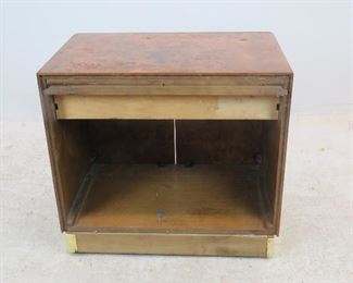 Founders burl wood cabinet w brass trim. [spots on brass, missing backing. ]  PIC 2