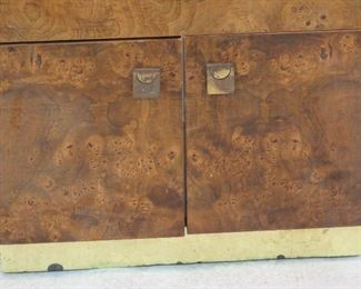 Founders burl wood cabinet w brass trim. [spots on brass, missing backing. ]   PIC 3