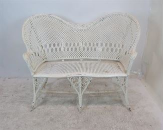 ITEM 203-- Victorian style wicker sofa. [some paint loss] $100.00