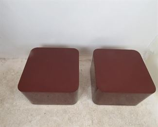 """ITEM 205---pair of designer acrylic rolling tables. has scratches, nicks, paint loss. 25.25"""" square. 16"""" high  $100.00"""