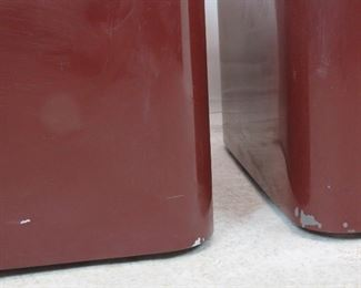 pair of designer acrylic rolling tables. has scratches, nicks, paint loss.  PIC 2