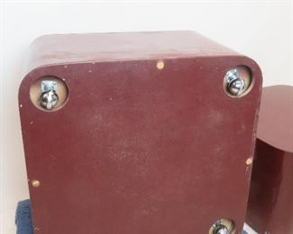pair of designer acrylic rolling tables. has scratches, nicks, paint loss. PIC 3