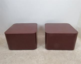 pair of designer acrylic rolling tables. has scratches, nicks, paint loss. PIC 4