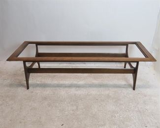 """ITEM 211--- MCM lane coffee table, [missing glass top]  59' long,  24.5"""", wide15.5"""" high. replacement  glass size 54"""" x 19 1/4"""".  $100.00"""