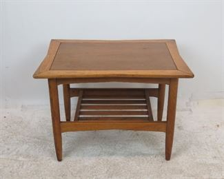 ITEM 213--MCM 2 tier table with slatted bench. [worn finish] - $50.00