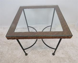 MCM wicker and iron base table with glass top. PIC 2