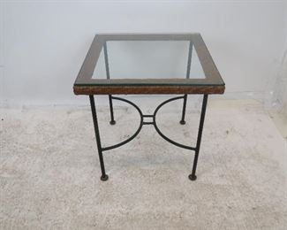 """ITEM 216--- MCM wicker and iron base table with glass top. 20"""" square, 20.75"""" high  $100.00"""