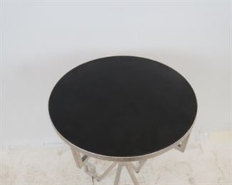 contemporary silvered metal table with black acrylic top.  PIC 2
