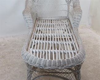 """ITEM 220--- wicker chaise lounge chair, [no cushions, minor wicker damage]  63"""" long, 34"""" wide, 36.25"""" high, 15"""" high to seat."""