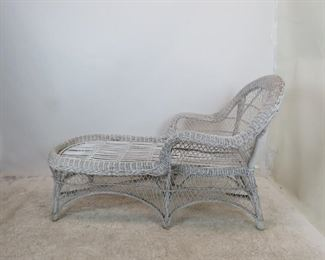 wicker chaise lounge chair, [no cushions, minor wicker damage]  PIC 2