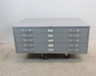 """ITEM 222--- Vintage Cole , 5 drawer metal, blueprint, map, flat file cabinet. some surface marks,  40.5"""" wide, 29.5"""" deep to end of handles, 15.75"""" high.  WE HAVE 2 AVAILABLE --$200.00 each"""