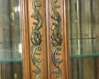 """Carved french beveled glass curio cabinet with lights and mirrored back. 34"""" wide, 15"""" deep, 80"""" high. 3 adjustable shelves on top [no bottom glass shelf]  PIC 2"""