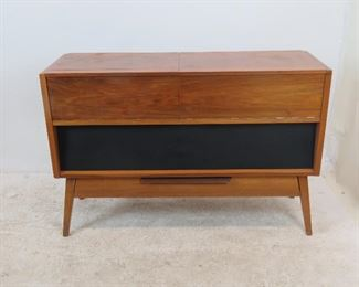 """ITEM 227--- MCM stereo cabinet, no inner components or back panel. great looking cabinet to re-purpose.  44"""" wide, 15"""" deep, 29.5"""" high. $100.00"""