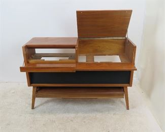 MCM stereo cabinet, no inner components or back panel. great looking cabinet to re-purpose.  PIC 2