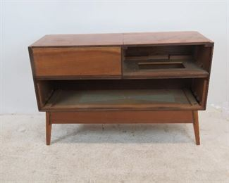 MCM stereo cabinet, no inner components or back panel. great looking cabinet to re-purpose.  PIC 4