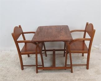 """ITEM 229--- 3 piece childs bentwood table and chairs signed label- Delphos Bending Co.  1 chair needs tightening.   table 25""""long x 18""""wide, 18"""" high $100.00"""