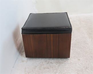 """MCM wood and vinyl ottoman on wheels. 16"""" square, PIC 2"""
