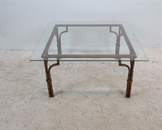 """ITEM 231--- Faux bamboo gilt metal glass top table. glass top 33.5"""" square, base-28"""" square, 16"""" high. $200.00"""