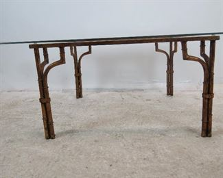 Faux bamboo gilt metal glass top table. PIC 2