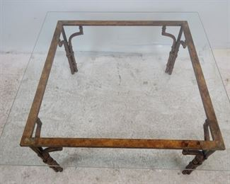 Faux bamboo gilt metal glass top table. PIC 3