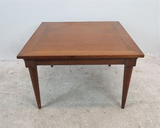 """ITEM 233---  MCM walnut table with dowel corners.    32' square , 20"""" high. chip on edge surface scratches. $75.00"""