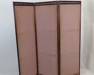 """ITEM 234-- 3 section stick and ball screen / room divider, fabric is worn and dirty, frame has nicks, chips scratches.  each section 19"""" wide, 59.5"""" high.  $30.00"""