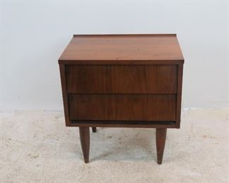 """ITEM 239--- MCM 2 drawer nightstand, has , minor chipping. surface marks. 22.25"""" wide, 15.5"""" deep, 23.75"""" high.  $75.00"""