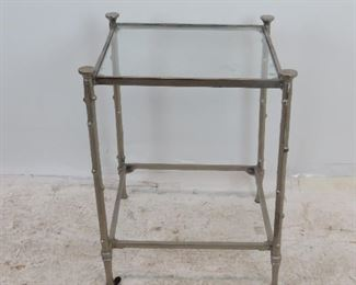 """ITEM 238 cast metal twig style glass table, chips on glass, missing bottom glass.  20"""" wide, 20.25"""" deep, 25"""" high.  glass size 17x17   $60.00"""