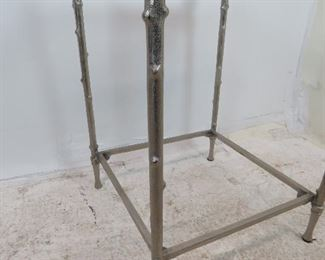 cast metal twig style glass table, chips on glass, missing bottom glass.  PIC 3