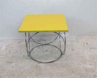 """ITEM 241--- MCM chrome table with laminate top, corner chip on top, roughness on corners. 18"""" wide, 18"""" deep, 15.75"""" high.  $50.00"""