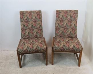 """ITEM 242-- Frank Lloyd Wright style square wood frame, pair of upholstered chairs. , 22"""" wide,e 25.5"""" deep, 40.5"""" high, 17.5"""" high to seat.  $350.00"""