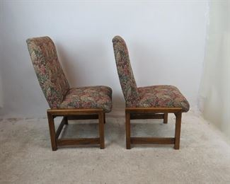 Frank Lloyd Wright style square wood frame, pair of upholstered chairs  PIC 2
