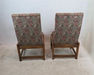 Frank Lloyd Wright style square wood frame, pair of upholstered chairs.  PIC 3