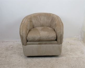 """ITEM 243--MCM  suede swivel lounge chair by Woodmark Originals, some staining on material,  29"""" wide, 28"""" deep, 30"""" high. 18"""" high to seat. $250.00"""
