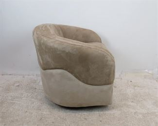 MCM  suede swivel lounge chair by Woodmark Originals, some staining on material. PIC 4