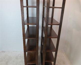 Pair of MCM oak 6 shelf etageres.  PIC 2