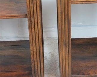 Pair of MCM oak 6 shelf etageres.  PIC 3