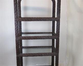 "ITEM 245-- wicker 4 glass shelf etagere. 36"" wide, 20.5"" deep, 78"" high. $200.00"