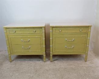 """ITEM 246---Pair of faux bamboo bachelors chests w/ laminate tops -by Thomasville, has some nicks, marks scratches, can be repainted. 30"""" wide, 19"""" deep, 30"""" high.  $400.00"""