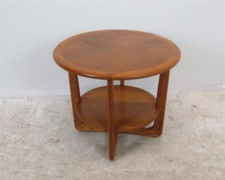 "ITEM 247--- Lane MCM 2 tier table, 26.5"" diameter, 22"" high. $100.00"