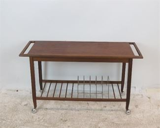 """ITEM 254--- MCM rolling cart w danish PETER HVIDT style handles. has LP holder base. nicks and surface scratches.  42"""" long, 14"""" wide, 25"""" high. $225.00"""