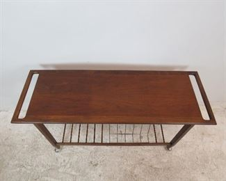 MCM rolling cart w danish PETER HVIDT style handles. has LP holder base. nicks and surface scratches.  PIC 2